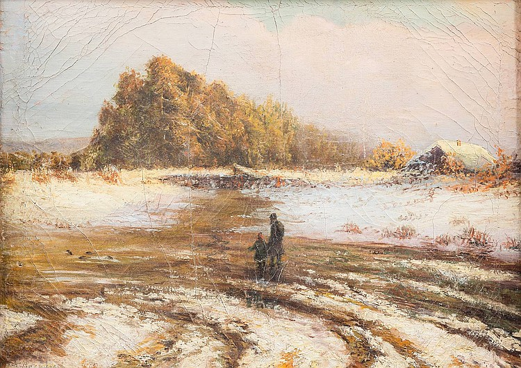 RUSSIAN ARTIST active end of the 19th century Thaw Oil on canvas, 28, 5 by 37 cm, lower left in cyrillic marked 'Vasilyev', partially damaged and restored, framed. A small version of the painting 'Thaw' of Fyodor Alexandrovich Vasilyev.
