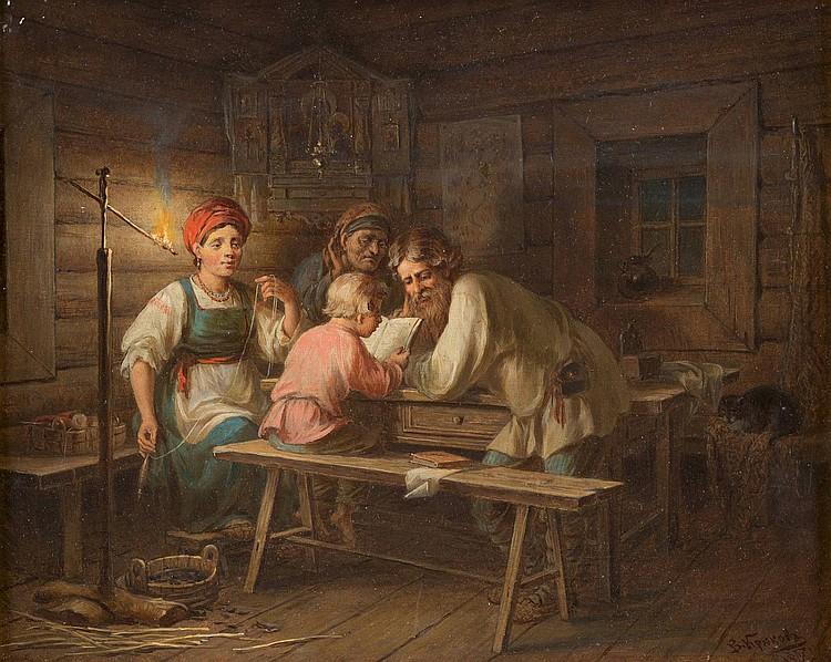 WALERIAN STEPANOWITSCH KRJUKOW 1838 Roslawl/ bei Smolensk - 1916 (?), russischer Genremaler Interieur mit einer Bauernfamilie