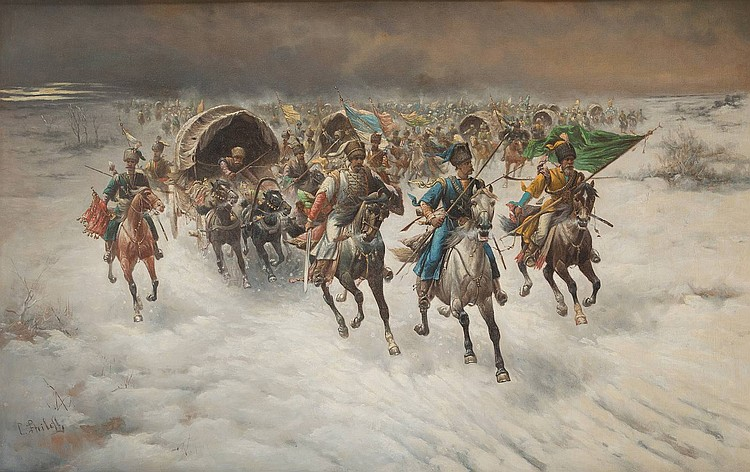 CONSTANTIN STOILOFF 1850 Linz - Vienna 1924 Riding Cossacks in winter Oil on canvas, 82 by 129 cm, lower left signed 'C. Stoiloff', min. restored, framed.