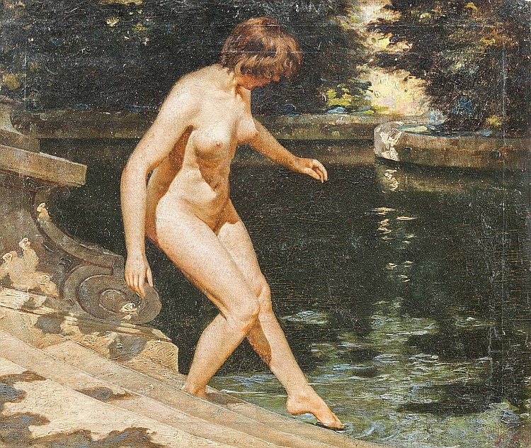 RUSSIAN PAINTER active ca. 1900 Nude bather Oil on canvas, 37, 5 by 44, 5 cm, lower right with the remains of the signature 'F. Step...) (?), partially with losses.