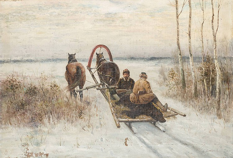 RUSSIAN PAINTER active end of the 19th century After bear hunting Oil on canvas, 48, 5 by 71, 5 cm, lower right unreadable signed, damaged.