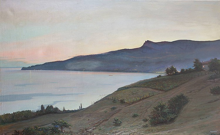 M. STEPANOV Russian painter, active middle of the 20th century Coast at the Black Sea Oil on canvas, 100 by 162 cm, lower right in cyrillic signed 'M. Stepanov, Njutino', min. losses.
