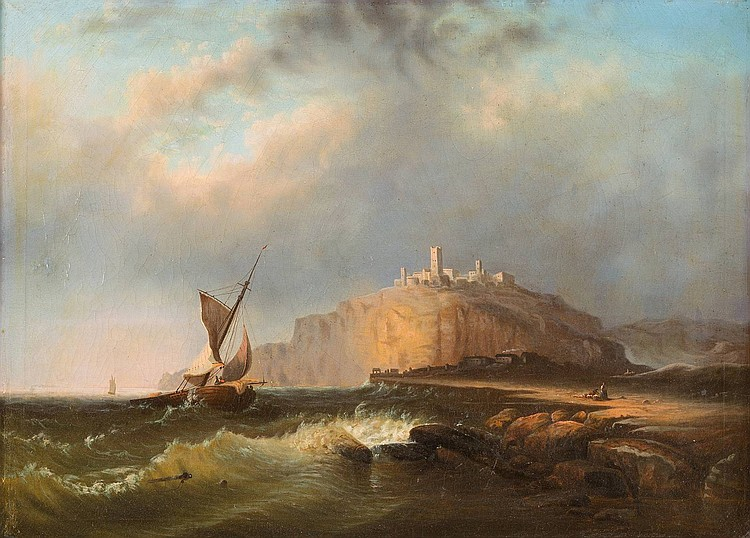 VLADIMIR FJODOROVITSCH VON SCHULMANN 1813-1872, russian painter (attr.) Sea peace with a fortress Oil on canvas, 67 by 91 cm, framed.