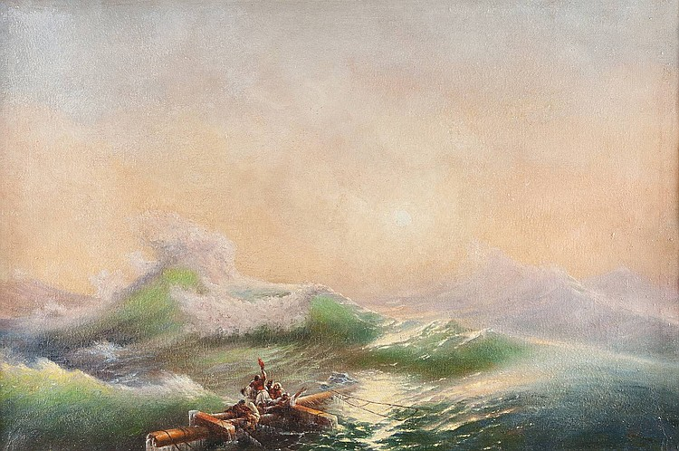 IVAN KONSTANTINOVITCH AIVASOVSKY 1817 Feodossija - Feodossija 1900 (follower) The ninth wave Oil on canvas, 55 by 83 cm, lower right with the overlefts of the signature, partially min. damaged and restored, framed.