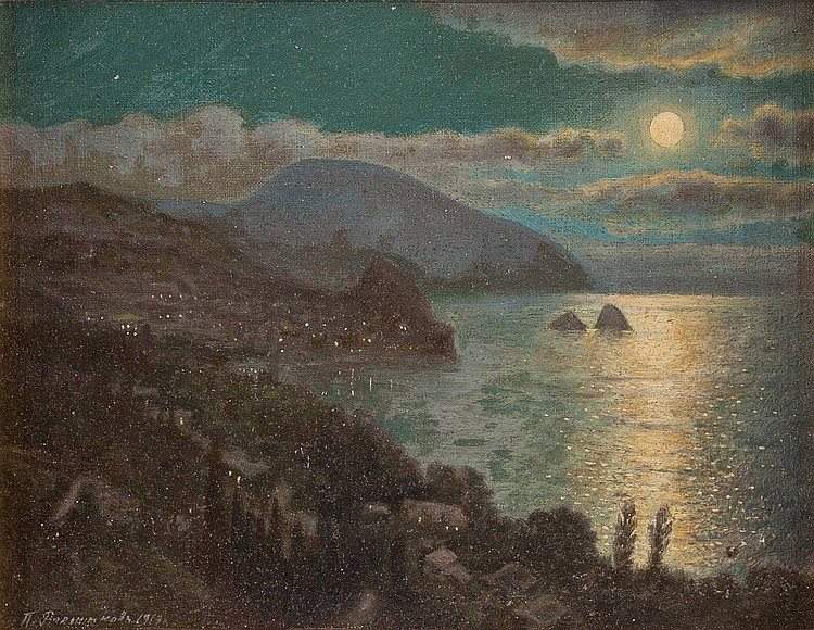 RUSSIAN PAINTER active early 20th century A view of 'Medved-Gora' near Yalta in the night
