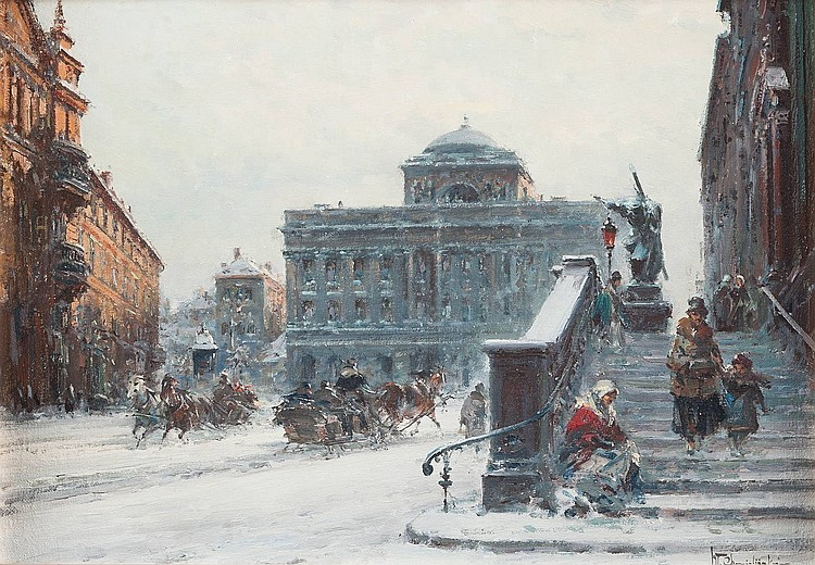 WLADYSLAW CHMIELINSKI 1911 Warsaw - London 1979 A view on the staszic-palace in Warsaw in winter