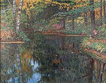 NIKOLAI PETROVITCH BOGDANOFF-BELSKY 1868 Shepotovo/ near Smolensk - Berlin 1945 A sea in the forest Oil on canvas, 70 by 88 cm, lower left signed and dated 'N. Bogdanoff-Belsky 1938', on the right min. worn, framed. We are grateful to Mr. Alexander Kuznetsov for his friendly assistance in cataloguing this work.