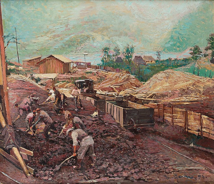 RUSSIAN PAINTER active in 20th century Worker loading a train Oil on canvas, 85, 5 by 99 cm, lower right unreadable signed and dated '(19)57', min. losses, framed.
