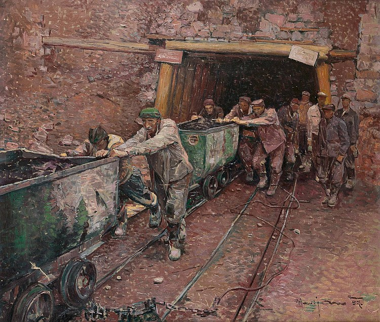 RUSSIAN PAINTER active in 20th century Mining workers Oil on canvas, 85, 5 by 100 cm, lower right unreadable signed and dated '(19)57', framed.