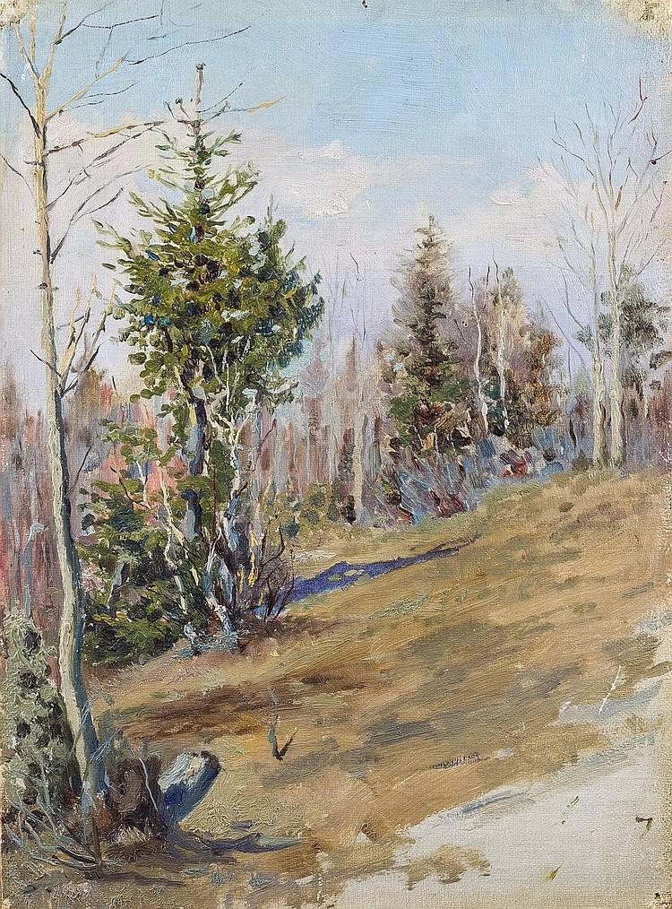 RUSSISCHER MALER Tätig um 1900 Waldstudie Öl auf Leinwand, auf Karton maroufliert. 32 cm x 24 cm. Verso handschriftlich in Kyriliisch bezeichnet 'N. Pirogov'. Part. besch.