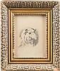 KONSTANTIN APOLLONOVITCH SAVITSKY 1844 Taganrog - Pensa 1905 Sheep Pencil on paper, visible size 19 by 14 cm, lower left in cyrillic signed 'K. Savitski', on the backside with an old label, min. damaged, behind glas.