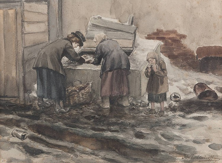 IVAN ALEXEEVITCH VLADIMIROFF 1870 Vilno - Leningrad (St. Petersburg) 1947 Street scene Water color on paper, visible size 24, 5 by 33 cm, lower left unreadable marked, lower right signed and dated 'J. Vladimiroff 1919', spotty, behind glas.