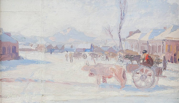 LUDWIG JOHST 1889 Hamburg - Munich 1976 Yoke of oxen in the winter