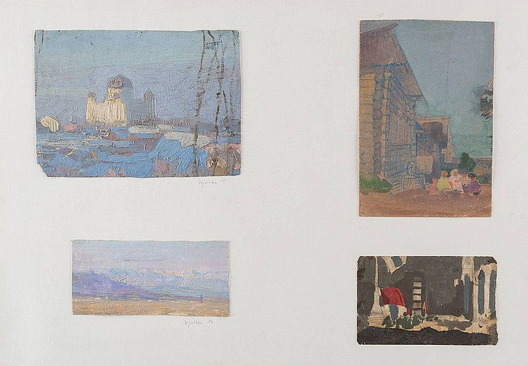 LUDWIG JOHST 1889 Hamburg - Munich 1976 A collection of 33 studies Oil on carton/ canvas, pencil and water color on paper, different sizes, partially signed and dated, losses, on 8 big sheets mounted. Provenance: estate of the artist.