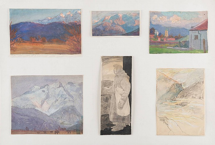 LUDWIG JOHST 1889 Hamburg - Munich 1976 Collection of the 53 landscapes- and portraitstudies Pencil on paper, oil on canvas/ carton, different sizes, partially signed and dated, on the 10 big sheets mounted. Provenance: estate of the artist.