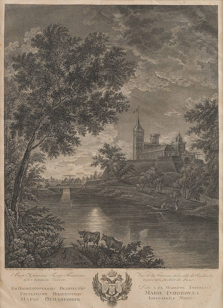 ADNREJ GRIGORIEVITCH OUKHTOMSKY 1770 - 1852, was active in Russia A view of the city Pavlovsk in moonlight Cooper engraving on paper, visible size 45, 5 by 33 cm, on the lower side in cyrillic and french marked and titled, partially wavy and spotty, in passepartout, behind glas.