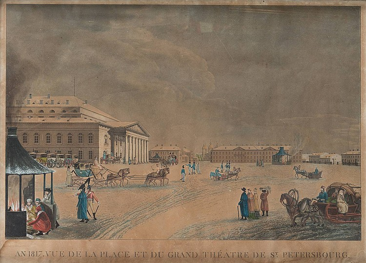 FRENCH ENGRAVER active early 19th century in Russia A view on the Grand Theatre of St. Petersburg