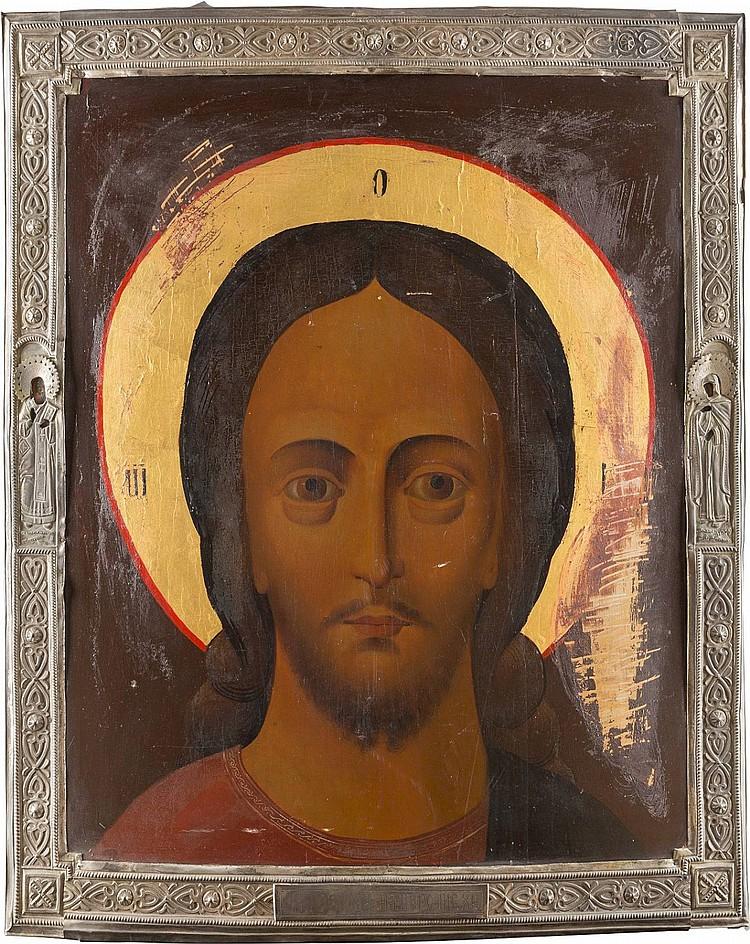 MONUMENTALE IKONE MIT CHRISTUS 'GRIMMES AUGE' MIT BASMA