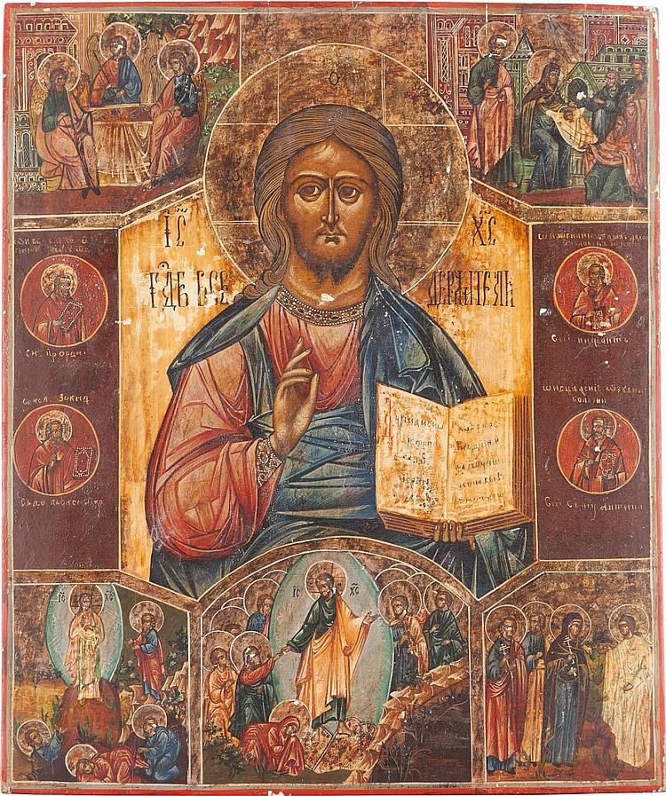 GROSSFORMATIGE IKONE MIT CHRISTUS PANTOKRATOR UND HOCHFESTEN DES ORTHODOXEN KIRCHENJAHRES