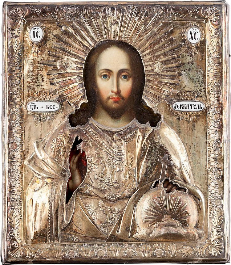 IKONE MIT CHRISTUS PANTOKRATOR MIT VERMEIL-OKLAD