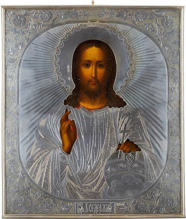 IKONE MIT CHRISTUS PANTOKRATOR MIT SILBER-OKLAD
