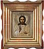 IKONE MIT CHRISTUS PANTOKRATOR MIT SILBER-OKLAD IM KIOT