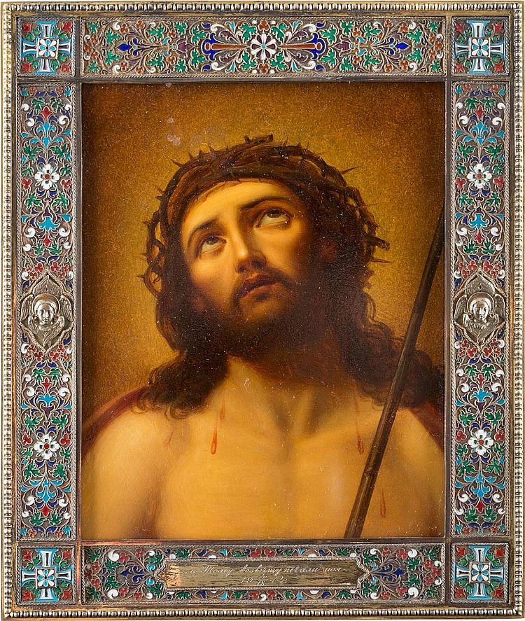 DORNENGEKRÖNTER CHRISTUS MIT EMAILLIERTEM VERMEIL-BASMA