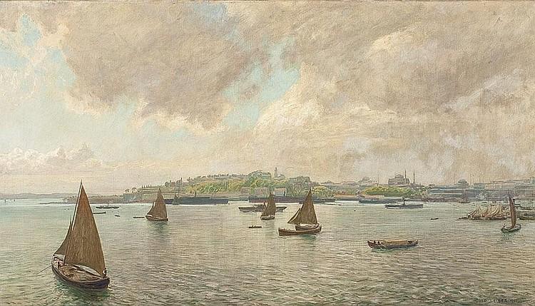 Schiffe in der Hafeneinfahrt von Konstantinopel