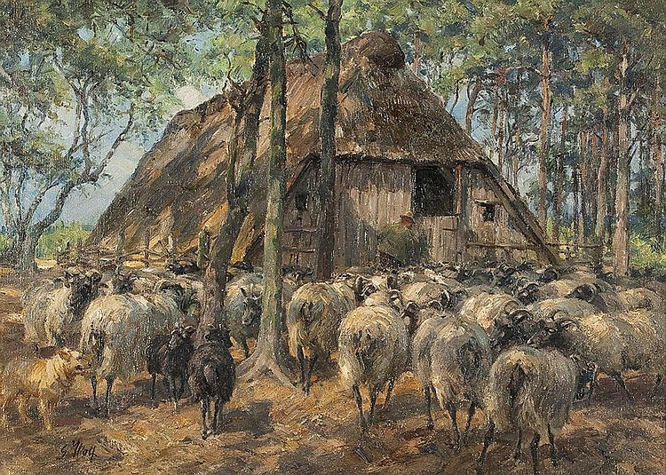 Schafherde vor dem Stall