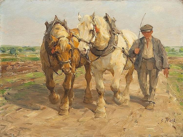 Bauer mit zwei Kaltblütern auf dem Feld