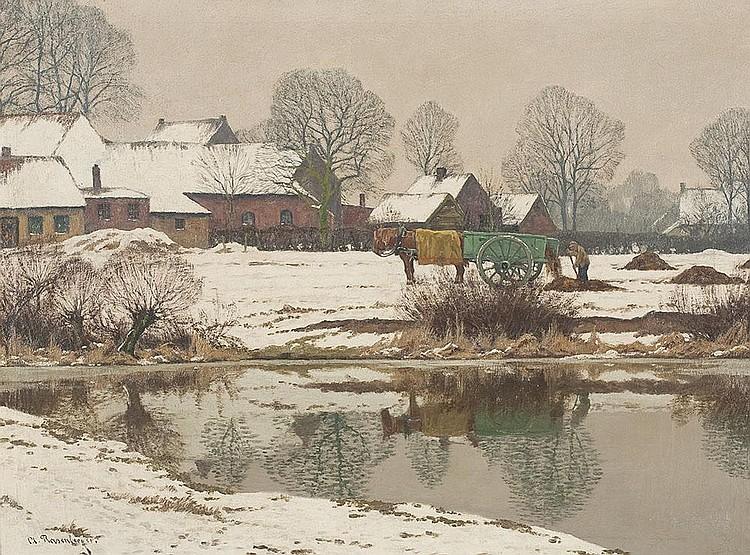 Winterlich verschneites Gehöft am Niederrhein mit Bauer auf dem Feld