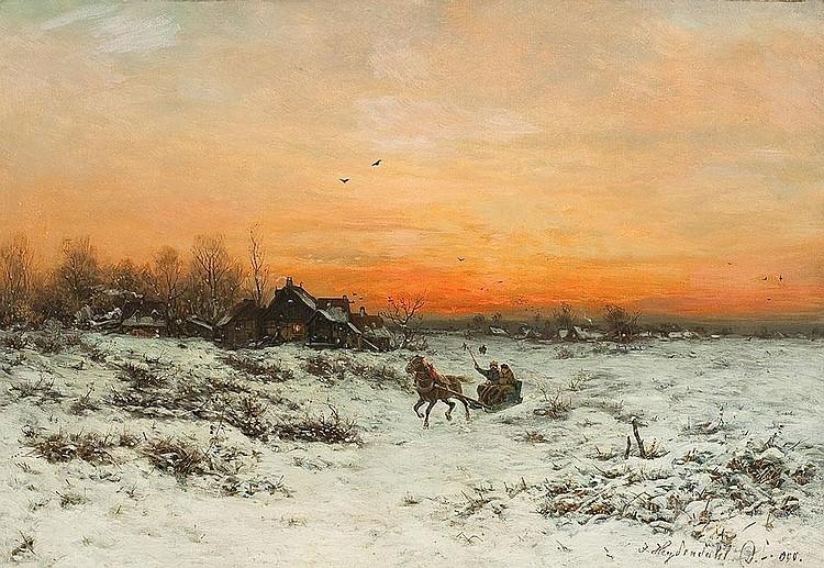 Winterliche Schlittenfahrt im Abendrot