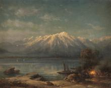 EDUARD PAPE, LAGERFEUER AM GENFER SEE