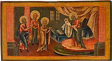 GROSSE IKONE MIT DER DARBRINGUNG CHRISTI IM TEMPEL AUS EINER KIRCHENIKONOSTASE