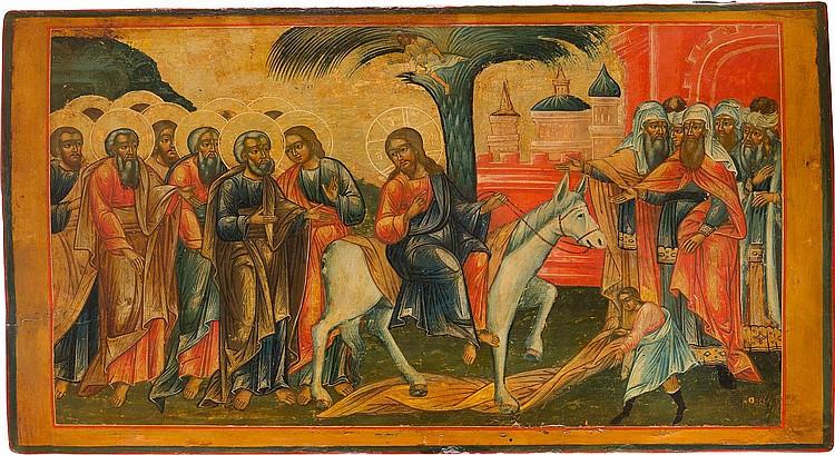 GROSSE IKONE MIT DEM EINZUG CHRISTI NACH JERUSALEM AUS EINER KIRCHENIKONOSTASE