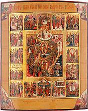 GROSSFORMATIGE IKONE MIT DER AUFERSTEHUNG UND HÖLLENFAHRT CHRISTI UND 16 HOCHFESTEN DES ORTHODOXEN KIRCHENJAHRES