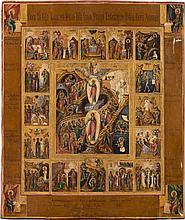 IKONE MIT DER AUFERSTEHUNG CHRISTI UND DEN HOCHFESTEN DES ORTHODOXEN KIRCHENJAHRES