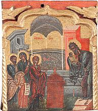 FEINE IKONE MIT DER DARBRINGUNG CHRISTI IM TEMPEL AUS EINER KIRCHENIKONOSTASE
