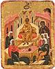 SEHR SELTENES UND FEINES TABLETKA MIT DEM 12 JÄHRIGEN JESUS IM TEMPEL UND DER ERWECKUNG DES LAZARUS