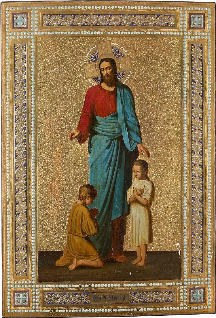 GROSSFORMATIGE UND SELTENE IKONE MIT CHRISTUS BEIM SEGNEN DER KINDER