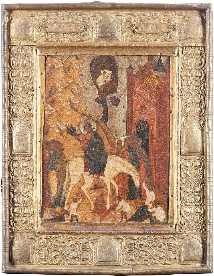 IKONE MIT DEM EINZUG CHRISTI NACH JERUSALEM - 19th century