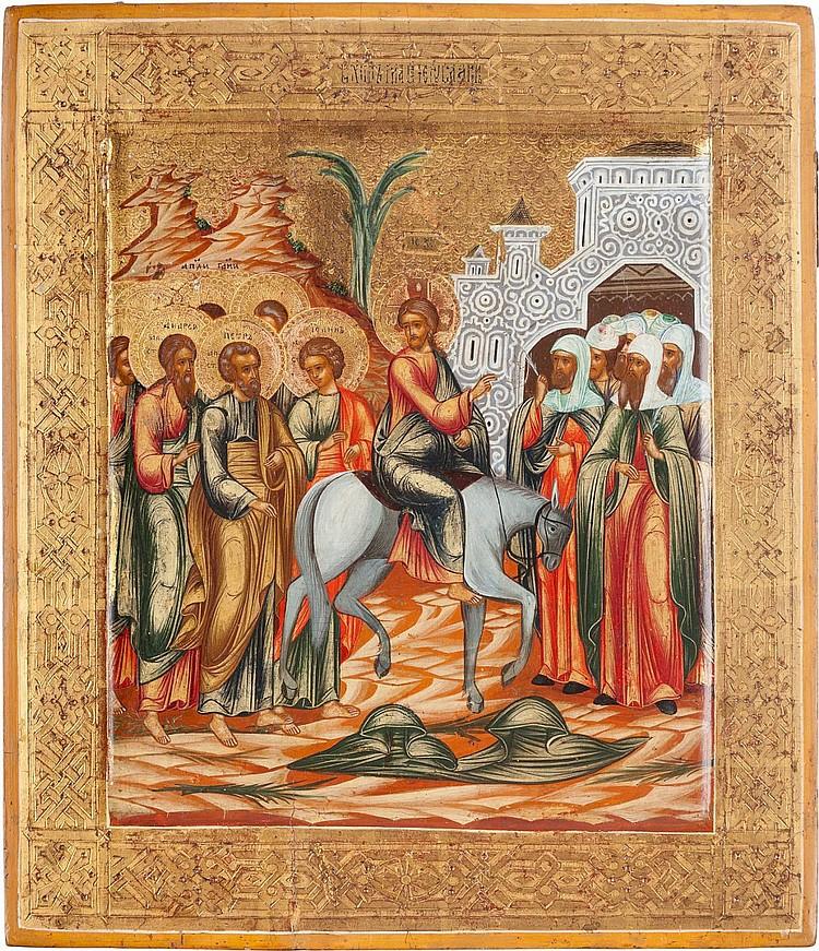 IKONE MIT DEM EINZUG CHRISTI NACH JERUSALEM
