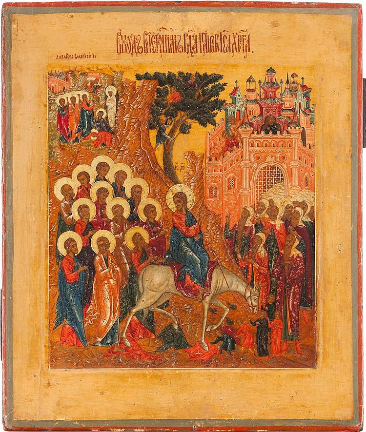 FEINE IKONE MIT DEM EINZUG CHRISTI NACH JERUSALEM UND DER ERWECKUNG DES LAZARUS