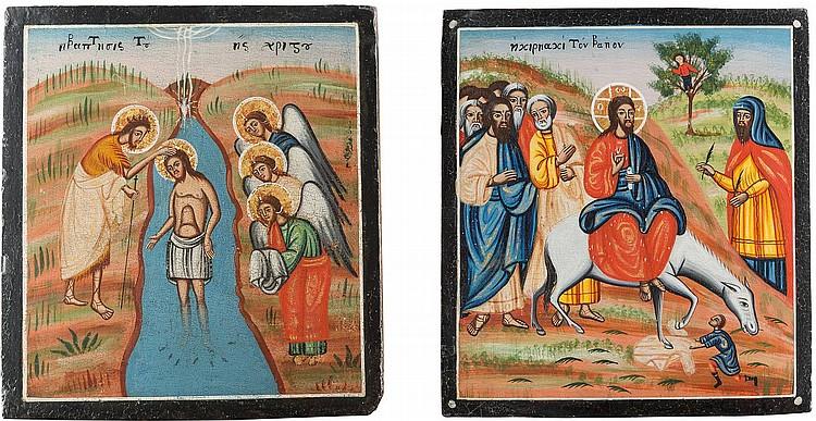 ZWEI IKONEN: TAUFE CHRISTI UND EINZUG NACH JERUSALEM