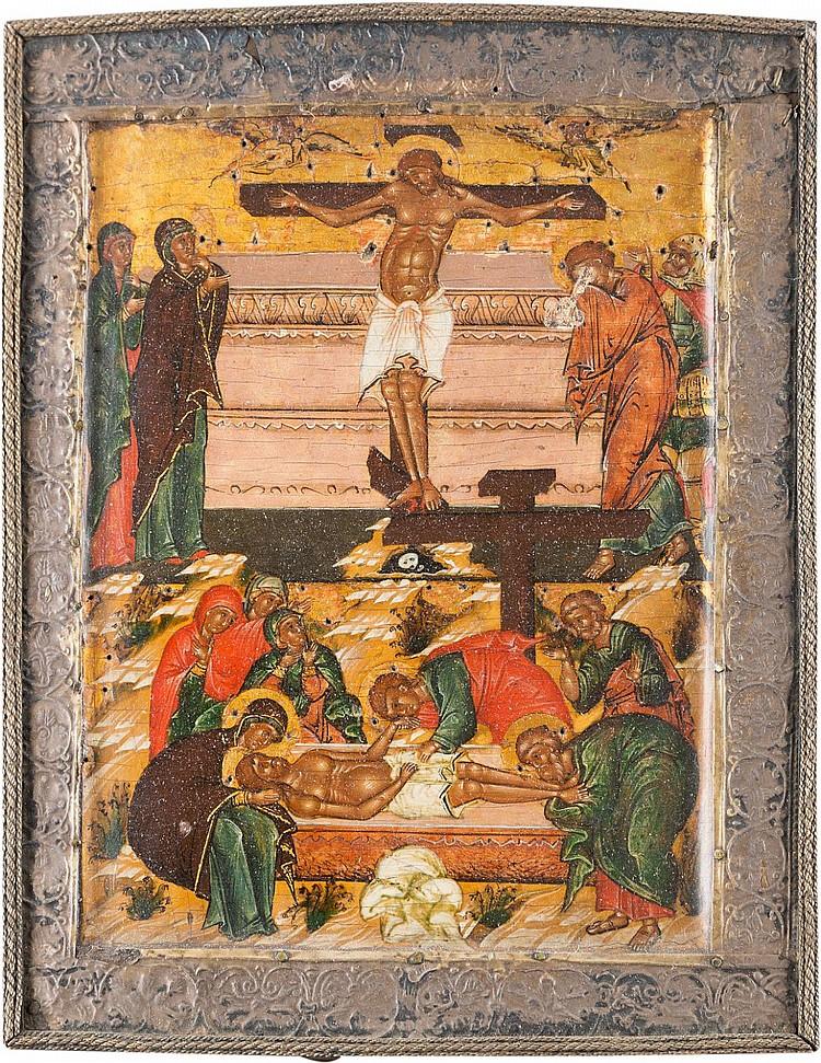 KLEINE UND FEINE IKONE MIT DER KREUZIGUNG UND GRABLEGUNG CHRISTI MIT SILBER-BASMA
