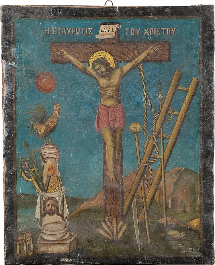 GEMÄLDE MIT DER KREUZIGUNG CHRISTI