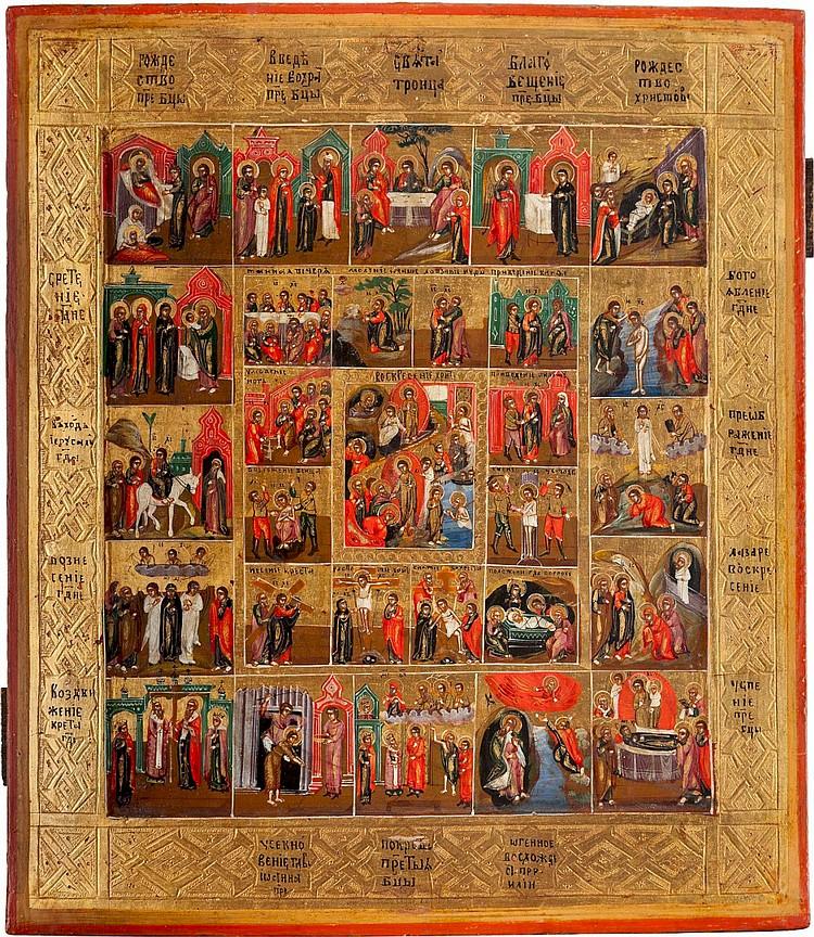 IKONE MIT DER AUFERSTEHUNG UND HÖLLENFAHRT, DER PASSION CHRISTI UND 16 HOCHFESTEN DES ORTHODOXEN KIRCHENJAHRES