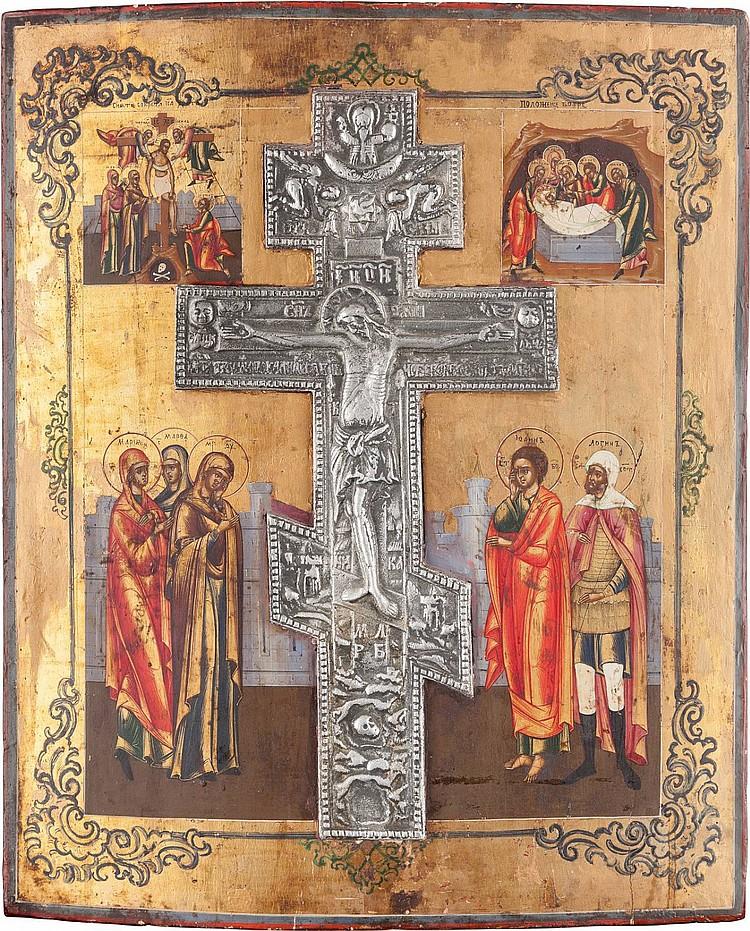 GROSSFORMATIGE IKONE MIT DER KREUZIGUNG CHRISTI, DER KREUZABNAHME UND DER GRABLEGUNG