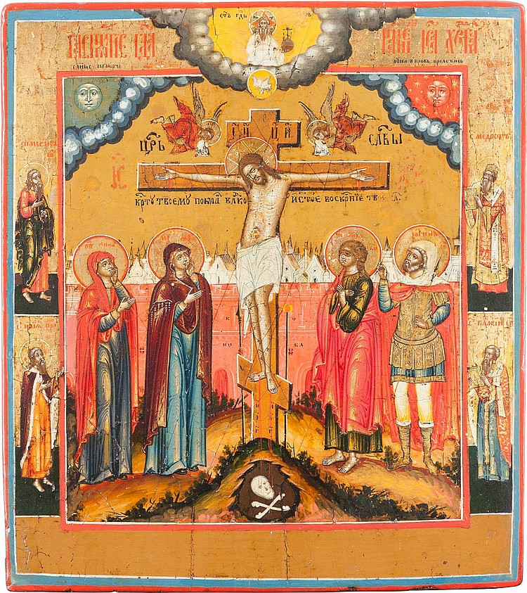 FEINE IKONE MIT DER KREUZIGUNG CHRISTI