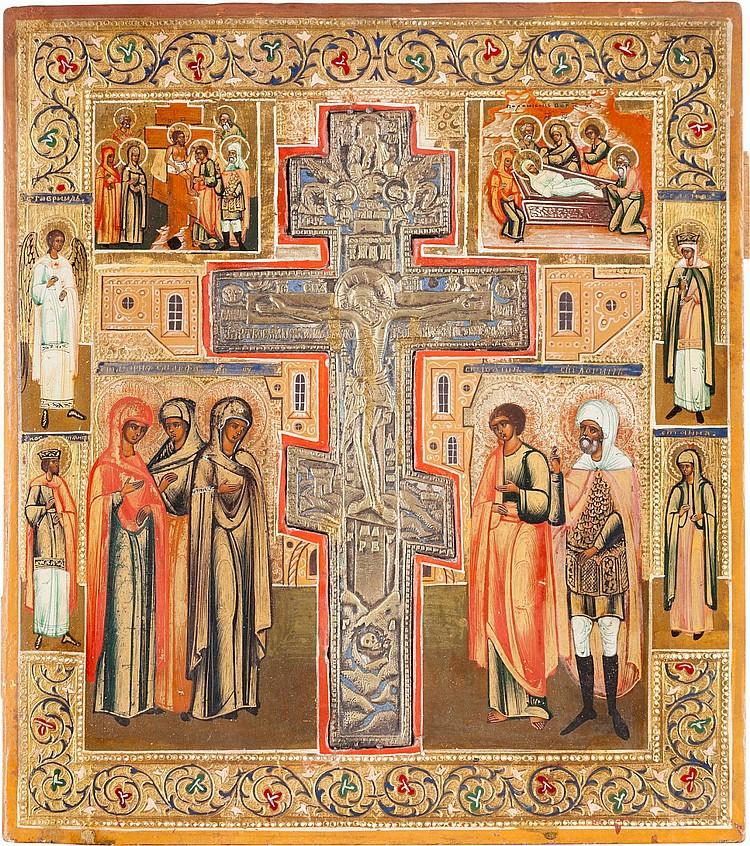 IKONE MIT DER KREUZIGUNG CHRISTI MIT DER KREUZABNAHME UND GRABLEGUNG